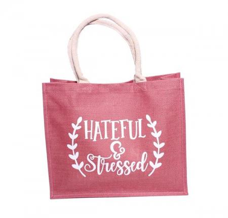 Bunter Jute Shopper mit coolem Spruch